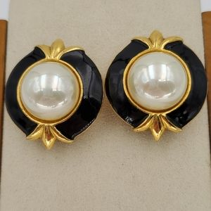 Carolee Gold, Black & Faux Pearl Clip Earrings